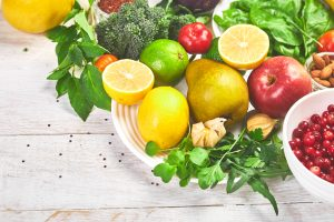 Selection of food rich in antioxidants and vitamins and mineral sources