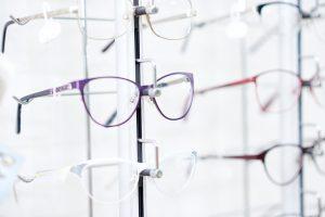 Fashionable eyeglasses in fashionable frame.