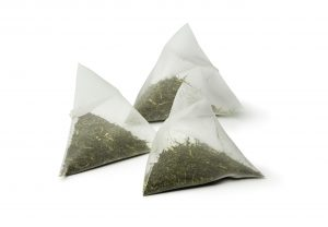 Triangle bags with matcha tea
