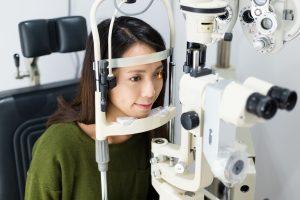 Woman is having eye exam