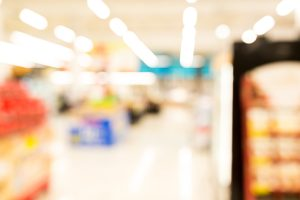 Supermarket or discount store blur background with bokeh