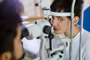 Checking eyesight in a clinic. Ophthalmology. Medicine and health concept.